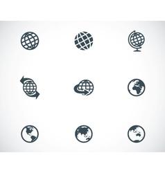 black globe icons set vector image