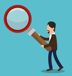 Business people with magnifying glass training vector