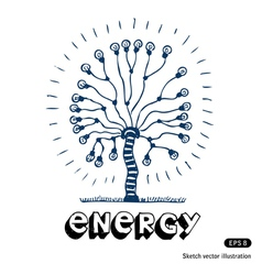 Energy tree of light bulbs vector image vector image