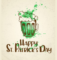 green beer and watercolor blots vector image vector image