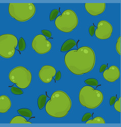 seamless pattern apple on blue background vector image vector image