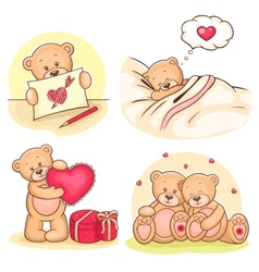 valentine teddy bears collection vector image