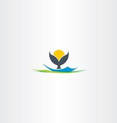 whale tail island beach logo vector image vector image