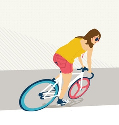 Young woman with fixie bicycle vector image