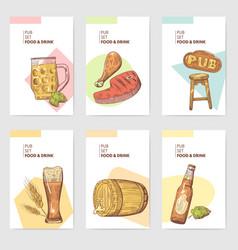 beer pub brochure template hand drawn menu vector image vector image