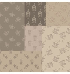 Mosaic collection of seamless coffee themed vector