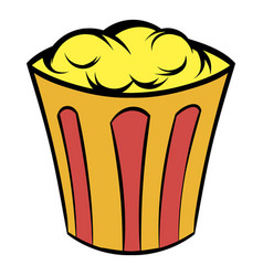 Popcorn in striped bucket icon cartoon vector