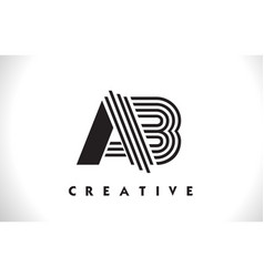 Ab logo letter with black lines design line letter vector