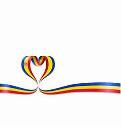 Andorran flag heart-shaped ribbon vector
