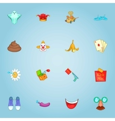 April fool day icons set cartoon style vector