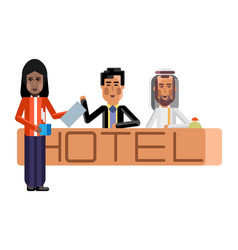 Arabic and asian receptionists at hotel reception vector