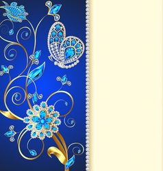 background with butterflies and ornaments made vector image