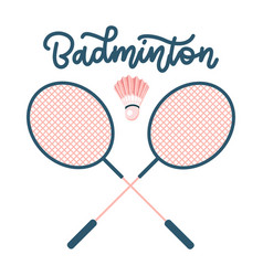 badminton rackets with shuttlecock sports vector image