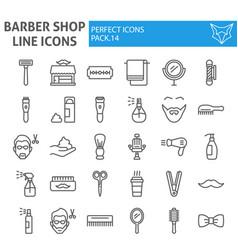 barber shop line icon set hairstyle symbols vector image