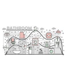 Bathroom concept flat line art vector