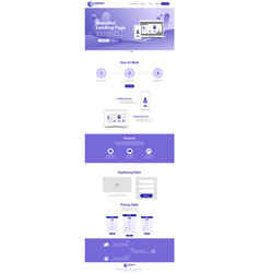 beautiful landing page website template design vector image