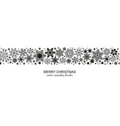 black and white seamless snowflake border xmas vector image
