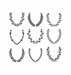 Black silhouette leaves pattern laurel wreath set vector