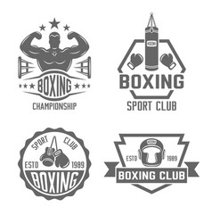 Boxing and fighting club monochrome labels vector