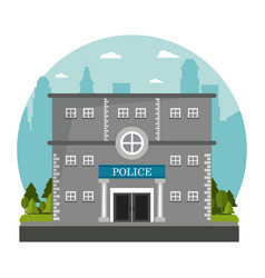Building police brick board tree city background vector