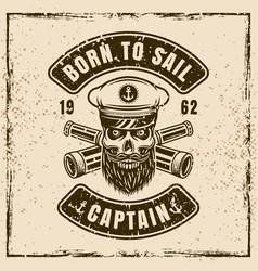 captain skull in hat and two crossed spyglass vector image