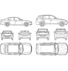 Car sedan and suv line draw four all view top side vector