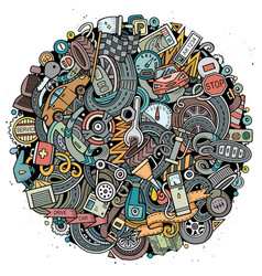 cartoon doodles automotive vector image