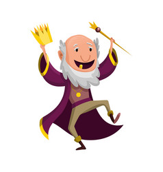 Cartoon king wearing crown and mantle old king in vector
