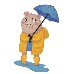 Cartoon Pig in Rain Gear vector