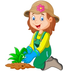 Cartoon she was plants in the garden vector