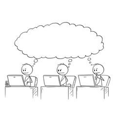 cartoon three businessmen working on computers vector image