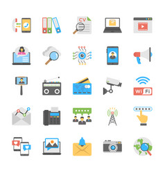 chat and social networking flat icons set vector image