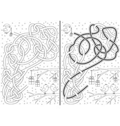 Christmas maze vector image