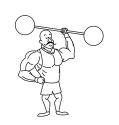 Circus strong man mustache dumbbell vector