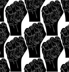 Clenched fists seamless pattern black and white vector image