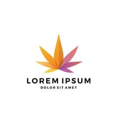 Colorful cannabis marijuana hemp leaf logo vector