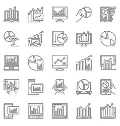 computer with chart or graph outline icons vector image