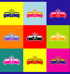 Crashed cars sign pop-art style colorful vector