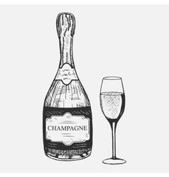 creative sketch champagne composition vector image