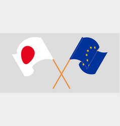 Crossed and waving flags eu and japan vector