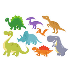 Cute cartoon dinosaurs clip art funny dino vector