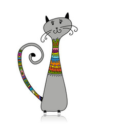 Cute cat in cozy sweater sketch for your design vector