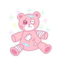 Cute suffering bear with injured body yami kawaii vector