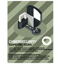 Cybersecurity color isometric poster vector