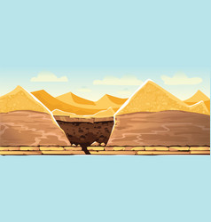 Desert landscape with sand dunes and dug pit vector