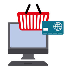 desktop computer with credit card and shopping vector image