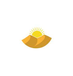 Dunes sands sun shining in desert logo icon vector