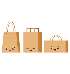 Emoji character packaging for goods set isolated vector