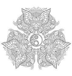 entangle stylized yin yang and carnaval masks vector image