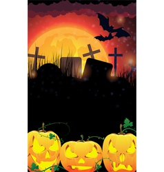 Evil Jack O Lanterns on a moon background vector